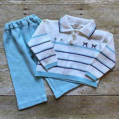 Vintage Baby Boys Outfit Acrylic Vintage Size 18 Months Infant Sweater Pants