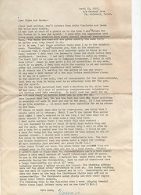 1917 WWI Military Letter from Fort McDowell CA with good Content