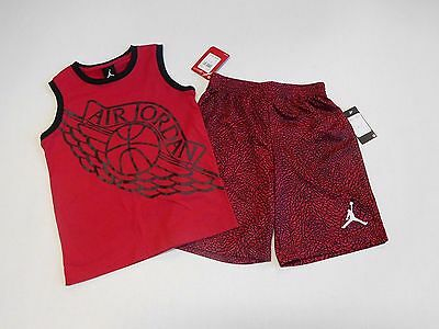NWT Boys 2pc Nike Air Jordan Red Black Basketball Shirt & Shorts Outfit sz 6