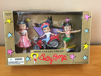 Betty Boop Figure Mini Collectibles 3-Pack Surfer Motorcycle 50's - 2004 - NEW