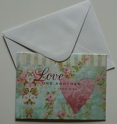 Set of 6 Blank Notecards & Envelopes ~  Love One Another Inspirational Heart