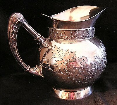1880 Victorian Eastlake Japanese Silver Plated Syrup Pitcher Meriden B Co.