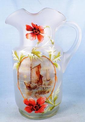 Antique Water Lemonade Pitcher Frosted Glass Sailboats Poppies Hand Paint Blown