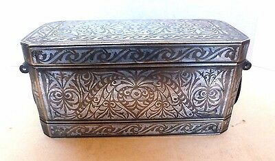 Silver Inlaid Bronze Betel Nut Box Container Mindanao Philippines Circa 1890's