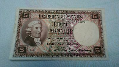 1928 Iceland ... Rare TYPE  P-27a without serial # prefix  Five 5 Kronur ..Xf