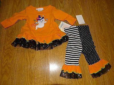 Bonnie Baby Girls 2-Piece Halloween Ghost Witch Tunic/Leggings Set Sizes 3-12M