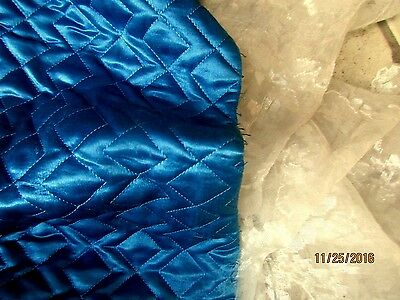RARE GORGEOUS ANTIQUE VICTORIAN QUILTED SILK TEAL BLUE BATTING FABRIC PC 1800s