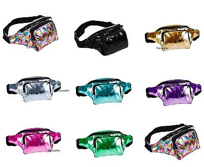 Metallic Bum Bag Travel Waist Fanny Pack Festival Money Belt Holiday Wallet