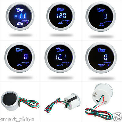 "2"" 52mm Blue LED Digital Car Boost Water/Oil Temp/Pressure/Tachometer/Volt Gauge"