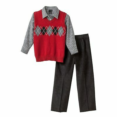 NWT Boys 3pc Van Heusen Red Sweater Vest L/S Shirt & Corduroy Pants Set sz 5