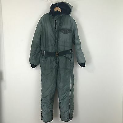 REFRIGIWEAR Insulated Coverall Jumpsuit Green Vintage Look Hooded Winter wear