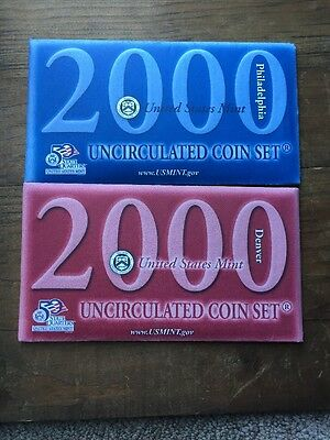 Lot Of Two 2000 Uncirculated Coin Sets - P & D Mints - Includes State Quarters