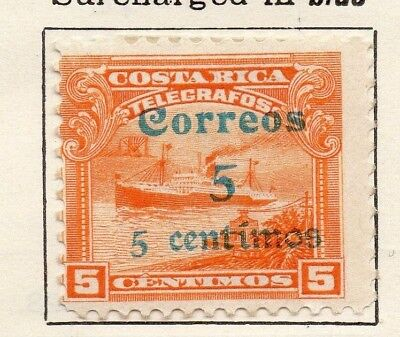 Costa Rica 1911 Issue Fine Mint Hinged 5c. Surcharged 140678