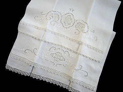 2 Exquisite Antique Italian Linen & Needle Lace Hand Embroidered Guest Towels