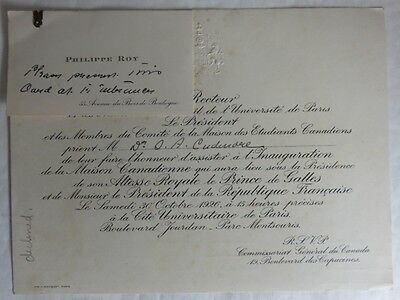 1926 Guest Of Honour Invitation To The University Of Paris            (Inv13175)