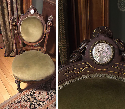 John Jelliff Renaissance Revival Victorian Rosewood Chair With Mother Of Pearl