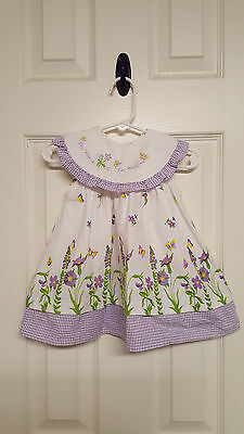 Girls Size 12 Months B.T.Kids White & Purple Floral Dress
