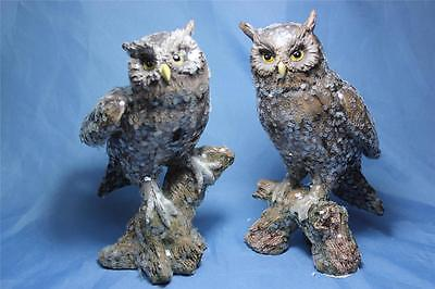 """New Set of 2  Sparkle Realistic Wise Barn Hoot Owl Statue Figurine Sculpture 8"""""""