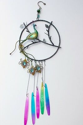 Peacock Wind Chime Metal Peacock Figurine Wall Decor Art Hanging Door New