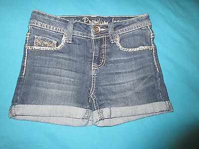 JUSTICE Girls Denim Bling Shorts Size 8 Regular 8R