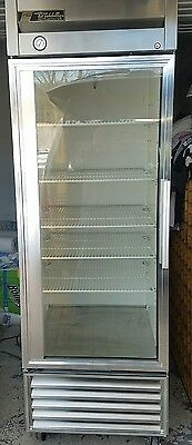 Used True T-23G Glass Door Refrigerator Stainless Steel with Casters