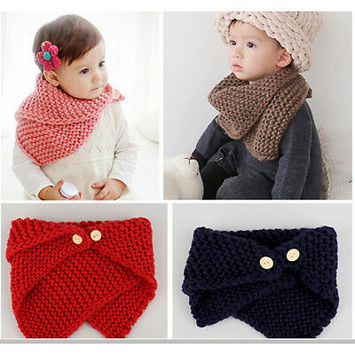 Baby Scarf Bevel Button Woolen Kids Boys Girl Collar Child Neck Ring Scarf GNUS