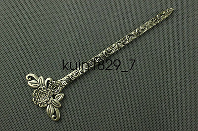 Chinese collection old Tibetan silver Flowers Hairpin LQQ3
