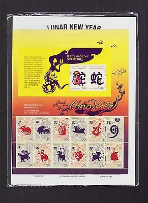 2013 Year of the SNAKE Zodiac sheetlet Lunar Year Christmas Island stamp set