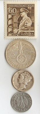 -5-antique *WW2 -SILVER, STEEL  and  ZINK   - *us   and - *german coins/stamp++