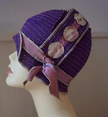 Gorgeous Vintage 20's Flapper Purple Cloche Hat * Floral Appliques * Lazarus