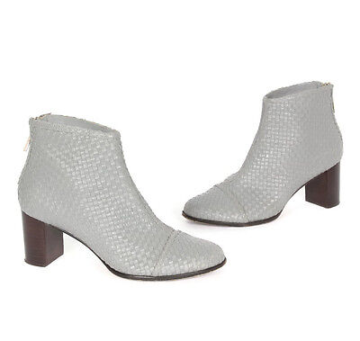886d3ed1f39be2 GUILHERMINA ANTHROPOLOGIE GRAY Woven Leather Bootie Womens Ankle Boots size  6 M -  59.20