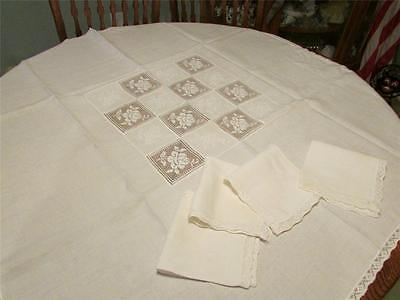 Vintage White Linen Tablecloth&4 Napkins-Inset Lace Roses/white Embroidery