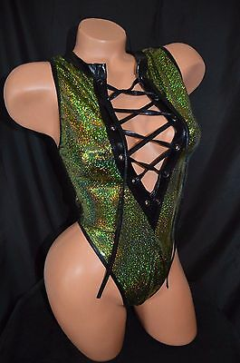 Exotic Dancer Stripper Sparkle Lace Up One Piece Thong Back Romper ~ Dancewear