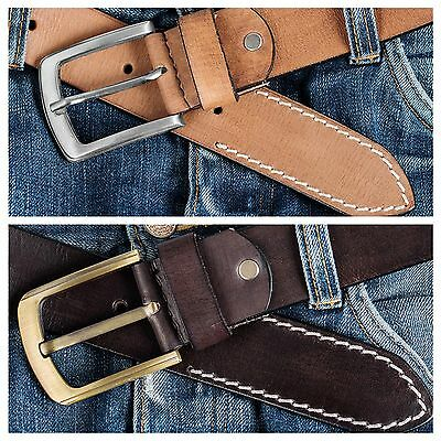 Leather Mens Belt Belts Real New Genuine Buckle Trouser Sizes Brown Tan Jeans