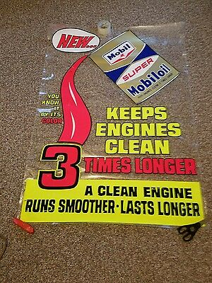 Vintage gas station oil can sign window decal mobiloil mobil