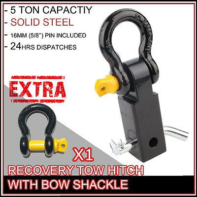Tow Bar Hitch Receiver 5T Rating With 19Mm Bow Shackles 4Wd Recovery Offroad