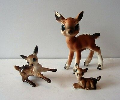 3 Vintage Collectible Miniature Fawn Deer Figure Lot
