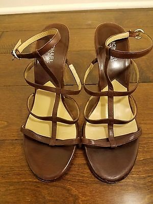 Michael Kors Strappy Sandal Heels Brown Leather Upper Size 9.5