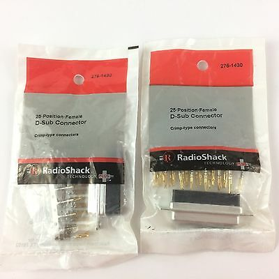 Lot of (2) 25 • Position • Female D-Sub Connector #276-1430 By RadioShack