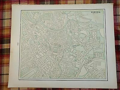 "VIENNA AUSTRIA Map 1900 Antique Original Crams 14.5""x11.5"" Vintage Old MAPZ116"