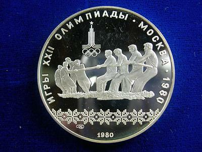 RUSSIA - USSR - 1980 silver 10 Roubles - Moscow Olympics Tug of War - PROOF