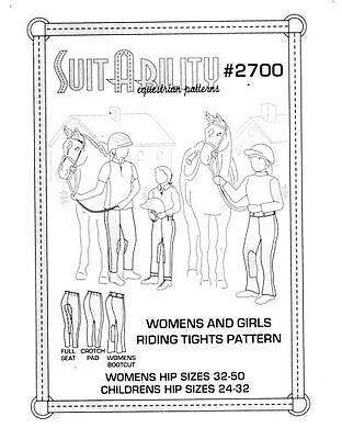Horse & Western Suitability Womens & Girls Riding Tights Pattern 2700