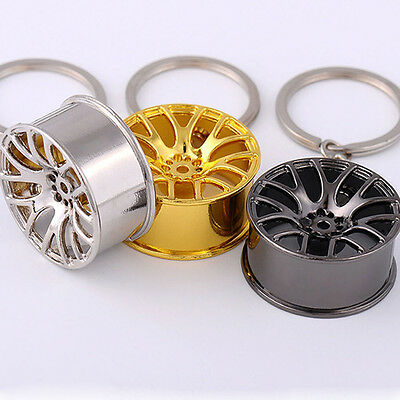 Fashion Creative Wheel Metal Keyfob Keychain Cute Keyring Key Chain Ring Novelty