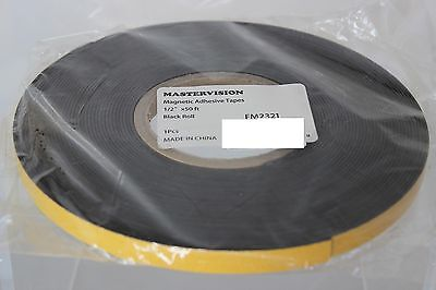 MasterVision Magnetic Adhesive Tape Roll 1/2 inch x 50 Ft Black FM2321 FM 2321