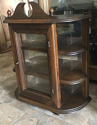 Antique Empire Wood Curio Wall Display Cabinet Glass Mirror Shelves Lg 24''