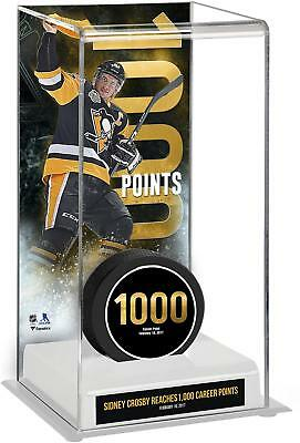 Sidney Crosby NHL Penguins 1,000 Career Points Puck Case with Commemorative Puck