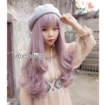 Lolita Fashion 60CM Mixed Light Purple Long Curly Daily Life Cosplay Wig +Cap