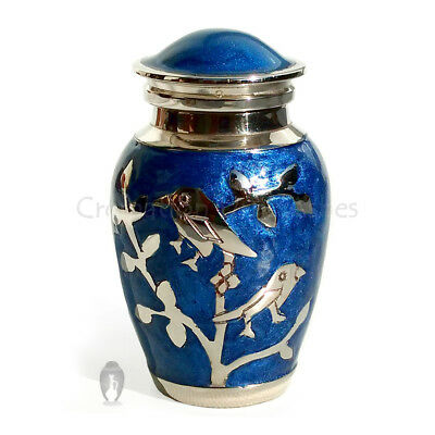 Small Cremation Urns for Ashes - Blessing Silver Bird Mini Keepsake Memorial Urn
