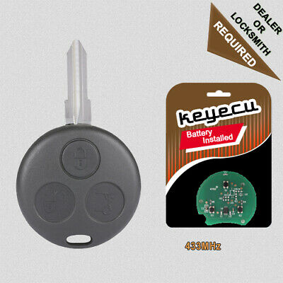 Replacement Uncut Remote Key Fob 3 Button 433Mhz for Smart Fortwo Forfour City