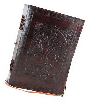 Vintage Large Tree Of Life Leather Blank Book Diary Journal 200 Pages Brown